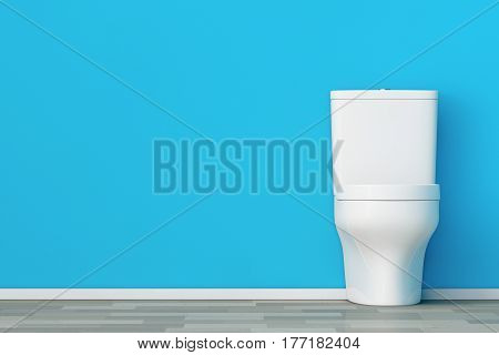 White Ceramic Toilet Bowl in front of Blue Wall. 3d Rendering.