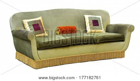 Three Seater Green Velvet Upholstered Couch