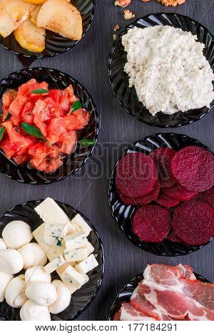 Ingredients On Plate For Preparation Bruschetta. Italian Cuisine Food Antipasto, Crostini. Top View.