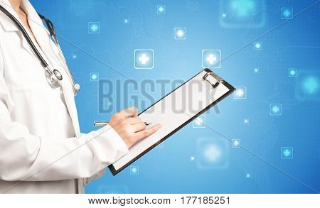 Female doctor holding notepad with blue background and crosses