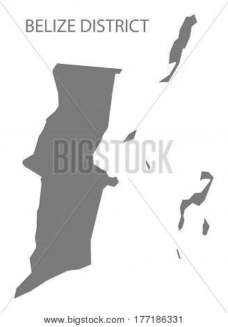 Belize District map grey illustration silhouette mainland
