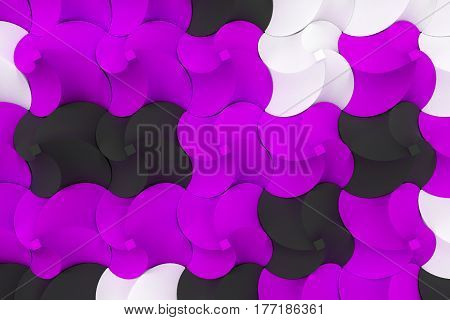 Pattern Of Black, White And Violet Twisted Pyramid Shapes
