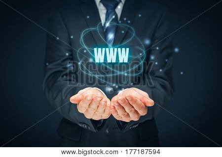 World wide web (www) - internet websites and SEO concepts. Businessman or programmer offer www services.