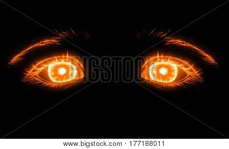 fiery eyes on a black background