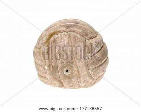 Old, Used And Washed Handball Ball Isolated On White.