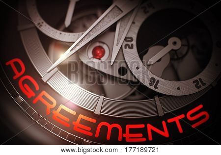 Agreements - Vintage Watch with Visible Mechanism and Inscription on Face. Business Concept with Lens Flare. 3D Rendering.