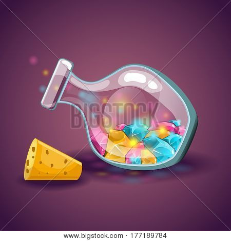 Cartoon vector bottles with gem. Game design