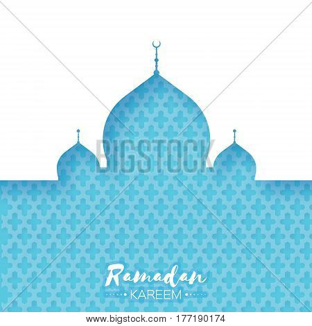 Blue Mosque. Origami Ramadan Kareem Greeting card with arabic arabesque pattern. Holy month of muslim. Space for text. Vector illustration.