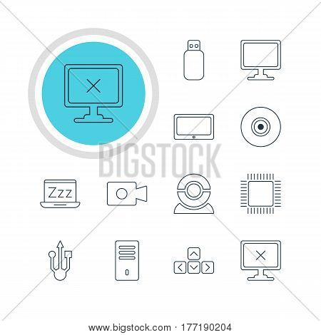 Vector Illustration Of 12 Laptop Icons. Editable Pack Of Tablet, Flash Drive, Keypad And Other Elements.