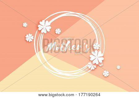 White Floral Greeting card. International Happy Mothers Day. Women's Day with Paper cut flower. Floral holiday. Beautiful bouquet. Circle frame. Vector illustration.