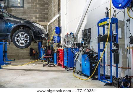 Garage workshop on repair and maintenance of vehicles
