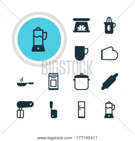 Vector Illustration Of 12 Cooking Icons. Editable Pack Of Frying Pan, Soup Pan, Tea Cup And Other Elements.