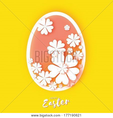 Happy Easter Greeting card. Origami egg, white flower. Oval Floral shape in Paper cut style. yellow. Vector illustration.