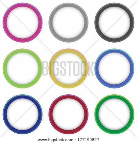 Set of colorful round shapes. Abstract rings for design with place for text