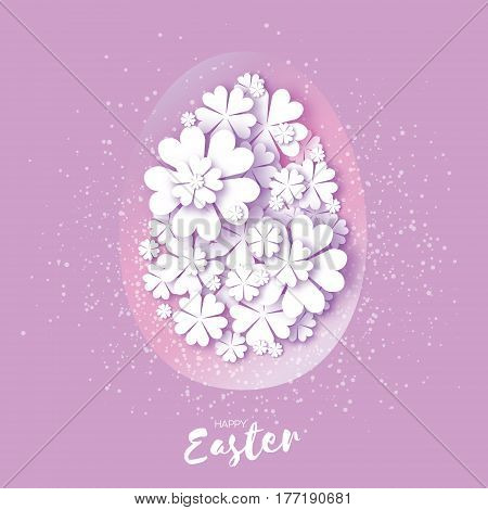 Happy Easter Greeting card. Origami egg, white flower. Oval Floral shape in Paper cut style. Purple. Vector illustration.