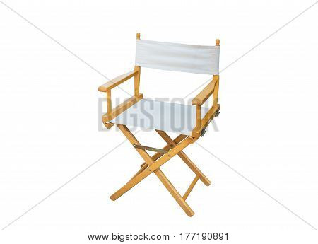 White Directors Chair isolated on white background with clipping path