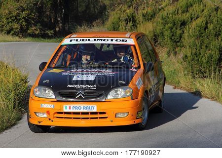 Acquasanta Italy - November 01 2016 - Rally of the Valli Genovesi: The Citroen Ax conducted by 'crew Lanza-Zambelli during the race.