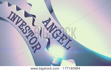 Angel Investor on Mechanism of Metal Cog Gears with Glow Effect - Communication Concept. Angel Investor - Illustration with Lens Flare. 3D Illustration.