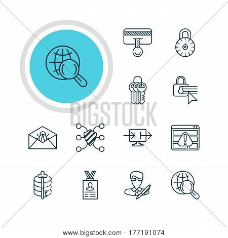 Vector Illustration Of 12 Privacy Icons. Editable Pack Of Send Information, Safeguard, Browser Warning And Other Elements.