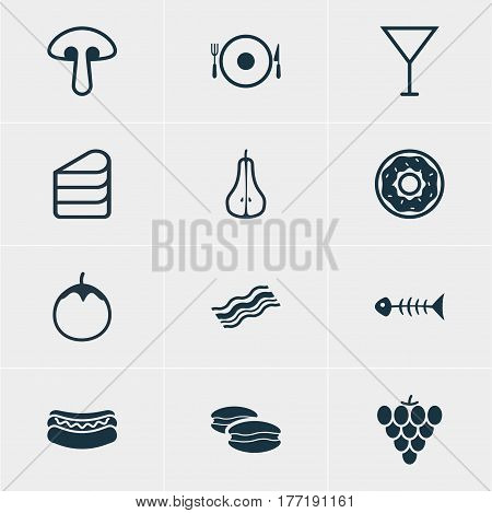 Vector Illustration Of 12 Eating Icons. Editable Pack Of Duchess, Ham, Skeleton And Other Elements.