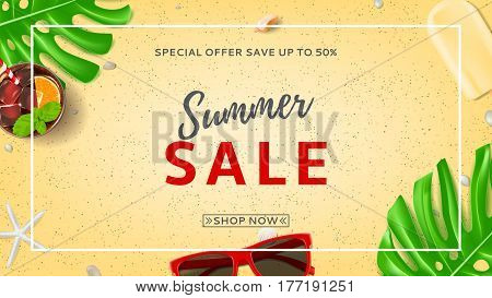 Summer sale banner with web button. Top view on sun glasses, seashells, fresh cocktail and ice cream on sea sand. Vector illustration with leaves of tropical plant.
