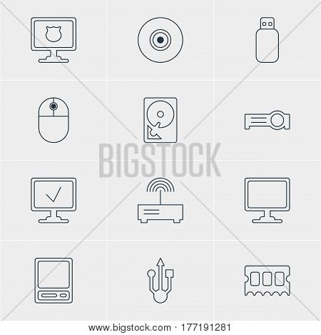 Vector Illustration Of 12 Laptop Icons. Editable Pack Of Screen, Router, Pda And Other Elements.