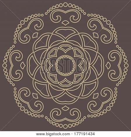 Elegant golden round ornament in the style of baroque. Abstract traditional pattern with oriental elements