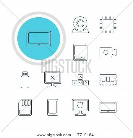 Vector Illustration Of 12 Computer Icons. Editable Pack Of Web Camera, Microprocessor, Movie Cam And Other Elements.