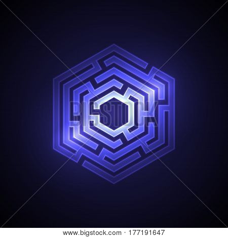 Abstract maze background with glowing light. Labyrinths in shape of hexahedron. Modern design of mystery pattern for business decoration. Vector illustration on gradient background.