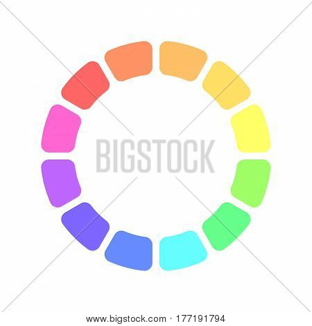 Partly transparent rainbow spectrum color blocks arranged in the ring. Vector illustration.