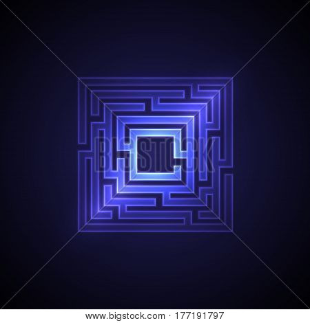 Abstract maze background with glowing light. Labyrinths in shape of square. Modern design of mystery pattern for business decoration. Vector illustration on gradient background.