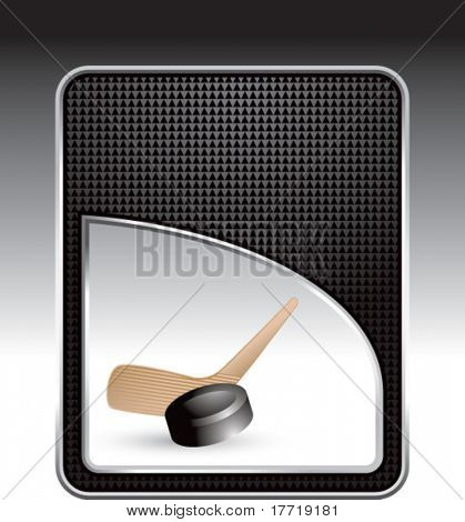 hockey stick and puck black checkered backdrop