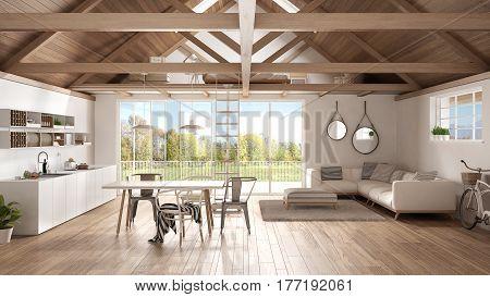Minimalist Mezzanine Loft, Kitchen, Living And Bedroom, Wooden Roofing And Parquet Floor, Scandinavi