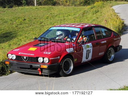Acquasanta Italy - November 01 2016 - Rally of the Valli Genovesi: The Alfetta GTV 2000 conducted by 'Rossi-Toselli crew during the race.