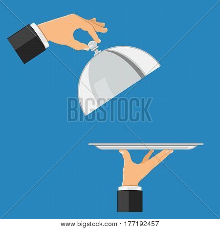 hand holds tray. other hand holds cover. flat style icons. isolated vector illustration