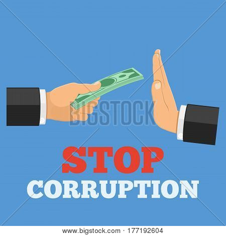 stop corruption concept, hand offers money, other hand shows a gesture of refusal, isolated vector illustration