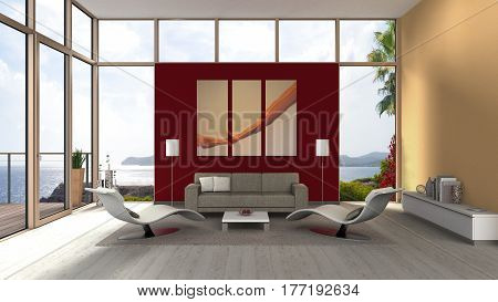 3D rendering of a seaside living room interior with glassfrint french door and terrace