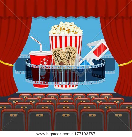 cinema auditorium with seats and transparent film, popcorn, drink in paper cup, 3d glasses, tickets on screen. flat style icons. vector illustration