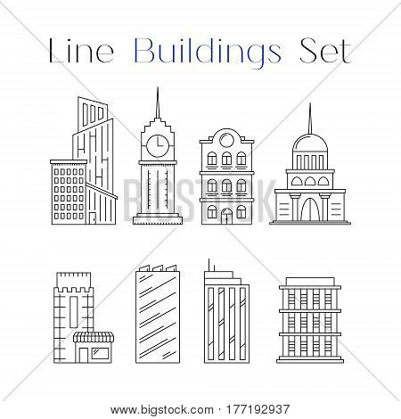 Line design art house and building icons set. Collection of architecture. Flat constructions. Objects for decoration as part of card poster banner city or town concept. Vector illustration isolated