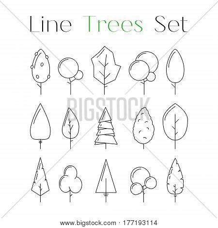 Cute line design art tree icons set. Collection of nature forest or park elements. Flat natural signs. Objects for decoration as part of card poster banner concept. Vector illustration isolated
