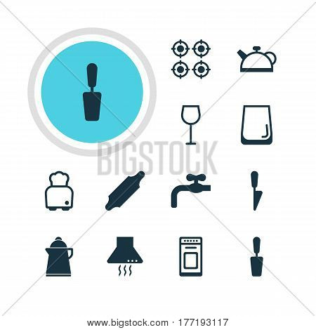 Vector Illustration Of 12 Restaurant Icons. Editable Pack Of Teakettle, Extractor Appliance, Glass Cup And Other Elements.
