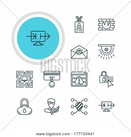 Vector Illustration Of 12 Data Protection Icons. Editable Pack Of Confidentiality Options, Network Protection, System Security And Other Elements.