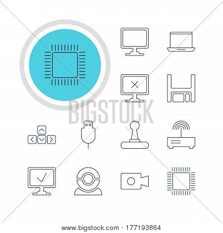 Vector Illustration Of 12 Laptop Icons. Editable Pack Of Serial Bus, Web Camera, Game Controller And Other Elements.