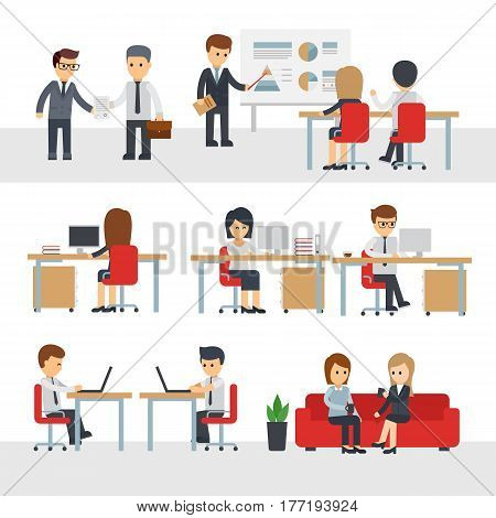 Business people work at office vector cartoon character. Businessman and businesswoman in office vector flat illustration Business infographic elements. Man and woman working at computer in workplaces