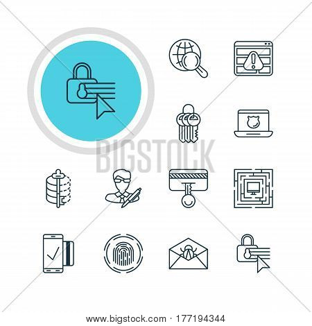 Vector Illustration Of 12 Internet Security Icons. Editable Pack Of Finger Identifier, Copyright, System Security And Other Elements.