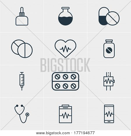 Vector Illustration Of 12 Medical Icons. Editable Pack Of Medicament Pitcher, Antibiotic, Heart Rhythm And Other Elements.
