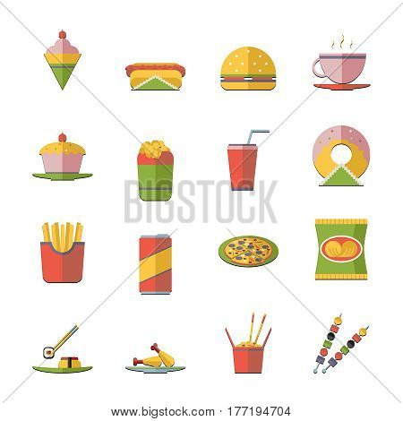 Retro Flat Fast Food Icons symbols Set Vector Illustration