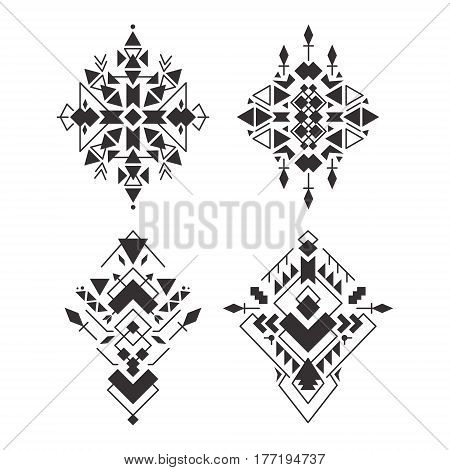 Abstract geometric aztec patterns set. Mexican tribal ethnic design. Indian traditional ornament. Collection of elements for decoration card tattoo cover Vector illustration isolated on white.