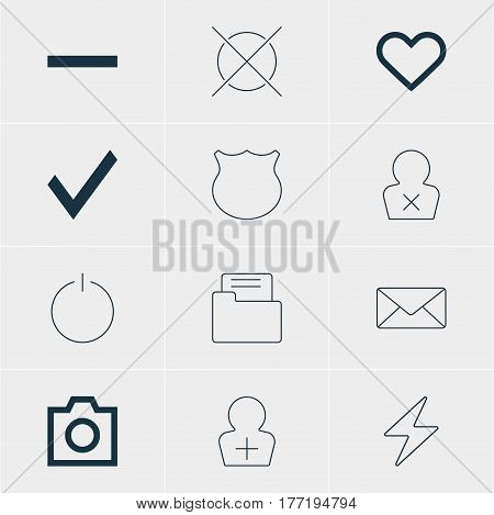 Vector Illustration Of 12 Member Icons. Editable Pack Of Confirm, Register Account, Snapshot And Other Elements.
