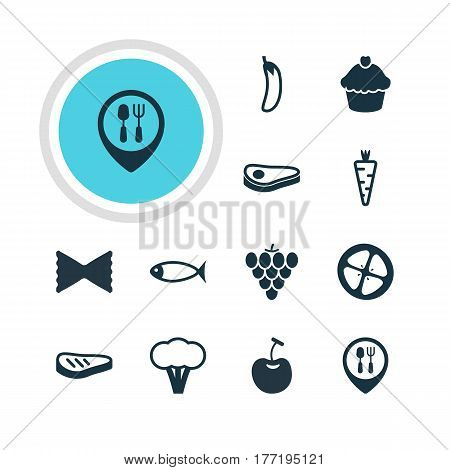 Vector Illustration Of 12 Food Icons. Editable Pack Of Berry Type, Aubergine, Veggie And Other Elements.
